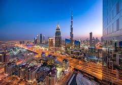 Burj Khalifa at sunset (Siebring Photo Art) Tags: burjkhalifa centralparktower dubai dubaimall dubaiskyline emirates uae lighttrails mirrorimage rooftop skyline sunset verenigdearabischeemiraten ae
