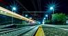 Pulling into the station... (Parrish Fatchen) Tags: train longexposure lights lighttrail nightphotography