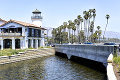 Blue Water Grill (joe Lach) Tags: california santabarbara bluewatergrill restaurant canal overpass river stream lighthouse palmtrees beach joelach