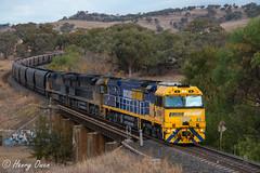 Coal over Chilcotts (Henry's Railway Gallery) Tags: 9304 9214 9205 93class 92class ge diesel goninan ugl c44aci pn pacificnational coaltrain freighttrain chilcottscreek willowtree mb521