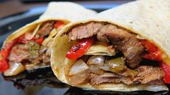 Steak fajita wrap (Coyoty) Tags: cornercafe tunxiscommunitycollege farmington connecticut ct college cafe food steak fajita wrap sandwich meat beef peppers tortilla onions brown red beige black bokeh