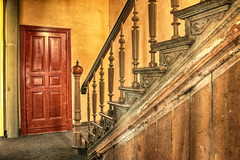 Old stairway (JuliSonne) Tags: stairs hallway stairwell rusty old decor ornament wood railing craft nostalgic dilapidated ramshackle