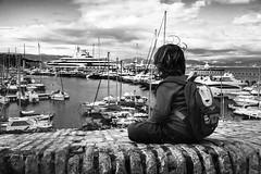 Dreaming, Antibes, France (www.alexandremalta.com) Tags: dilbar marina antibes france boy seascape black white