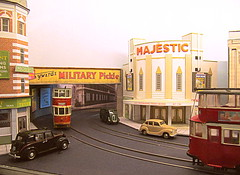 Under the bridge (kingsway john) Tags: london tram layout model 176 scale oo gauge e1 buildings card kingsway models street ucc feltham transport tower plastic kit