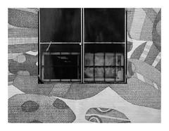 160515_1408_160515 110532_oly_S1_New York (A Is To B As B Is To C) Tags: aistobasbistoc usa newyorkstate newyork roadtrip travel olympus stylus1s monochrome bw blackwhite blackandwhite brooklyn bushwick willoughbyave drawing streetart closeup window wall urban city graffiti fence pattern tag tags framed