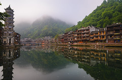 Phoenix Ancient Town (Ash and Debris) Tags: houses fenghuang nature mist reflections city silence town china old water oldcity bridge riverbank reflection oldtown river tower house history calm fog morning phoenix village asia