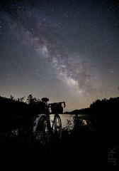To the stars! (koperajoe) Tags: astronomy 650b reflection nightrider lefol silhouette bike lake milkyway velo