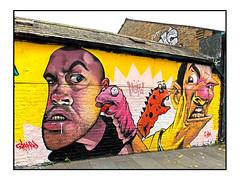 STREET ART by TOM BLACKFORD & EWAN (StockCarPete) Tags: tomblackford ewanewan streetart londonstreetart characters graffiti urbanart meetingofstyles mos shoreditchart london uk shoreditchstation glovepuppets