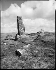 Standing stone (Philippe Torterotot) Tags: chamonix45n2 4x5 analog film filmisnotdead scotland barra vatersay outerhebrides fomapan100 blackandwhite travel voyage iles ecosse noiretblanc noirblanc monochrome standingstone