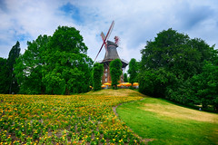Am Wall Windmill in Bremen, Germany (` Toshio ') Tags: toshio bremen germany windmill amwallwindmill german europe architecture flowers garden fujixt2 xt2 trees park