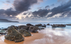 Sunrise Seascape (Merrillie) Tags: daybreak sunrise nature australia killcarebeach water nsw clouds sea newsouthwales rocks earlymorning morning rocky landscape ocean centralcoast cloudy waterscape coastal waves outdoors seascape dawn coast killcare sky
