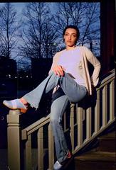 Yasmin (neohypofilms) Tags: portrait series girl female pretty cute denim jeans style fashion shoes clogs 35mm film photography slr nikon fuji 200asa africanamerican blue bleu color colour
