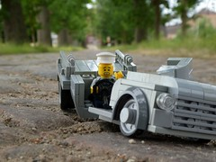 Bloody Cobblestones! (captain_joe) Tags: toy spielzeug 365toyproject lego minifigure minifig moc car auto kopfsteinpflaster cobblestone allee allée gutshof oppendorf chevy 6400 flatbed lorry truck lkw lastwagen unfall