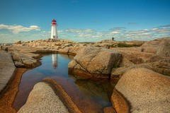 20150904-Sept. 4, 2015. Peggy's Cove 166 (lmchisholmphotos) Tags: lighthouse peggys cove rocks water reflection