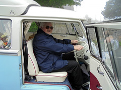 Well, I'm ready....... (Marty's White Suit) Tags: automobiles classiccars guys motors oldcars portraits quirky selfie selfportrait transport vw menover40 meninglasses camper car