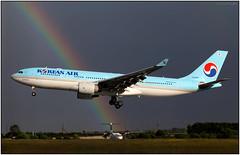 IMG_0728FL10 (Gerry McL) Tags: korean airlines airbus a330 a330200 hl8227 landing stormy rainbow darkclouds glasgow scotland gla egpf arcenciel