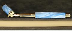 Sky Pearl Blue Fountain Pen - Bock Rose Gold Nib (BenjaminCookDesigns) Tags: fountainpen custom bespoke engraved personalised classic vintage artdeco style gift birthday christmas fpgeeks fpn giftforhim giftforher füllfederhalter sky blue pearl