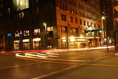 Streaking (Lisa Meadville) Tags: photowalk longexposure streaking downtownpittsburgh lights night pittsburgh town downtown long exposure lighttrails