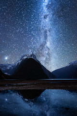 Stairway to Infinity (Achint Thomas) Tags: milky way sky night composite milfordsound newzealand canon lake water reflection snowcapped peak mountains longexposure stars galaxy southisland