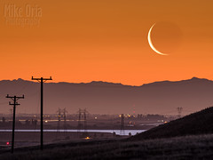 Waning Crescent (mikeSF_) Tags: california clifton forebay moon moonrise crescent waning sunrise morning hills tracy byron vasco pentax 645 645z a600 600mm