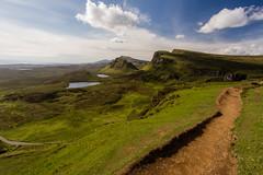 Quiraing, Isle of Skye (Kaua'i Dreams) Tags: quiraing skye isleofskye scotland uk unitedkingdom clouds sky trail green grass mountains hiking water breathtakinglandscapes scotlandscountryside