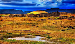 A hill, hit by sunlight through though the clouds, Myvatn, Iceland (klauslang99) Tags: klauslang nature naturalworld landscape europe myvatn iceland hill mountains ngc