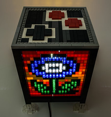 Bedazzled Mosaic LEGO Sprite Lamp Cube (Baron Julius von Brunk) Tags: lego mario supermario nintendo nes electronic mosaic lamp fireflower sprites moc brunk videogames
