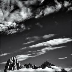 Small Mountains big Sky... (Ody on the mount) Tags: abstrakt anlässe berge dolomiten em5ii filmkorn fototour gipfel himmel italien langkofel langkofelgruppe mzuiko1250 omd olympus rahmen südtirol urlaub wolken workshop bw clouds monochrome mountains quadratisch sw