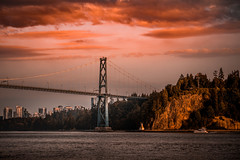 Sunset Vancouver (Photo Alan) Tags: sunset lionsgatebridge water sea bridge britishcolumbia vancouver canada cloud city cityscape cityofvancouver landscape outdoor