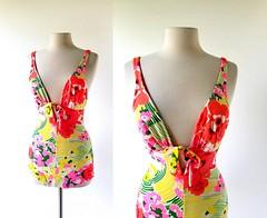 1970s bright floral deep plunge swimsuit (Small Earth Vintage) Tags: smallearthvintage vintagefashion vintageclothing swimsuit 1970s 70s floralprint bright colorful deepplunge maillot bathingsuit