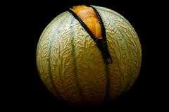 Melon 1 - Knife 0 (Charlotte P.Denoel) Tags: artfood aliment nourriture contraste contrast texture grosplan closeup zipper zip fermetureéclaire food melon conceptart fineartphotography conceptual concept