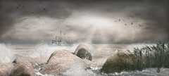 No Storms, Not Even The One In Your Life, Can Last Forever! ... by Niani (xxnianixx) Tags: lavie landscape secondlife sl sea sun digitalart dramatic rocks photography birds beach sky clouds niani