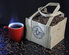 Coffee Time (Flair Photography Brisbane) Tags: coffee beans steam mug hessianbag food drink