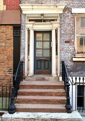 Greek Revival doorway (1831), 30 Leroy Street, Greenwich Village, New York (Spencer Means) Tags: dwwg architecture greekrevival house row brick painted white grey gray stoop steps iron railing newel post door 30 leroy street southvillage greenwichvillage manhattan neighborhood nyc ny newyork