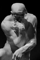 The Thinker (richardr) Tags: thethinker rodin augusterodin sculpture bw blackandwhite blackwhite male man cast statuary statue england english britain british greatbritain uk unitedkingdom europe european old history heritage historic london bloomsbury britishmuseum museum