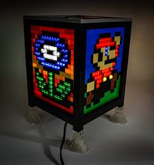 Bedazzled Mosaic LEGO Sprite Lamp Cube (Baron Julius von Brunk) Tags: lego mario electronic lamp sprite videogames nintendo nes brunk mosaic moc