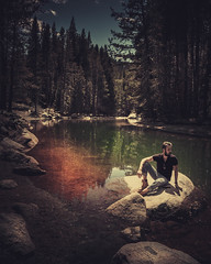 Donner Lake. (pedferr) Tags: portrait nature reflection fashion lake 4x5 red california male beards water outdoors model woods profile summer stone unitedstatesofamerica usa trip landscape travel mensfashion morning sunny vertical style sky selfportrait scene rocks clouds bluesky orange man adventure warm menstyle river forest hiking dramatic trails green editorial lifestyle colorful mountain