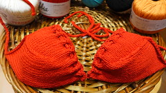 Ζήστε το 💙...στα ❤❤ ! (sifis) Tags: πλέκω σακαλάκ knitting swimming athens greece red yarn bikini top