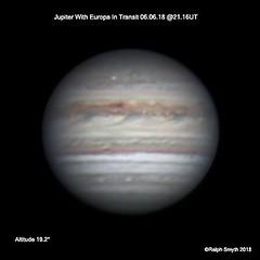 Jupiter With Europa Transiting 06.06.18 @21.16UT (Ralph Smyth) Tags: jupiter europa galilean tal zwo290mm baader