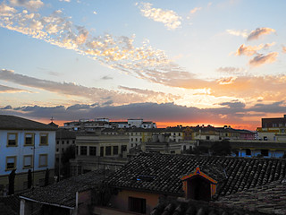 Sunset over roofs of Granada