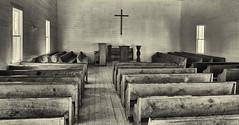 Smoky Mountain Sanctuary (jim_cook) Tags: church sanctuary methodist vintage smokymountains cadescove tennessee cross pews icon blackandwhite bw
