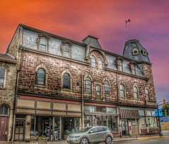 Fergus Ontario Canada ~ Marshall Block  ~ Heritage Building (Onasill ~ Bill Badzo - 56 Million Views - Thank Yo) Tags: fergus ontario canada marshall block heritage building orginal merchant store wellingtoncounty onasill fieldstone architecture style downtown rafferty insurance ron wilkins historic sky clouds hdr tower corner bank jewelry storefront canon rebel eos 18250mm macro sigma victorian outdoor people photo add window