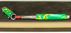 Green & Yellow Stripe Fountain Pen - Red Lacquer Nib (BenjaminCookDesigns) Tags: fountainpen custom bespoke engraved personalised classic vintage artdeco style gift birthday christmas fpgeeks fpn giftforhim giftforher füllfederhalter red