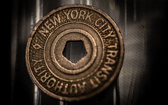 NYC Subway Token HMM (Dotsy McCurly) Tags: canoneos80d efs35mmf28macroisstm nyc newyorkcity subway token dirty grungy bokeh led lights macro hmm happymacromonday 7dwf macromondays transportation