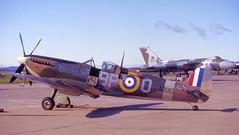 Two iconic British aircraft (M McBey) Tags: spitfire vulcan leuchars raf iconic aircraft xh558 avro supermarine ww2 coldwar nikkormatftn kodachrome