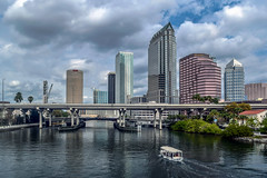 Downtown After Edits (Larry Nathaniel Chadwick Warner) Tags: downtown tampa hillsborough river sykes skypoint bank america bbt regions wells fargo verizon pnc building sky scraper kennedy boulevard boat water trees city scape hdr florida county clouds suntrust captrust nbc palm