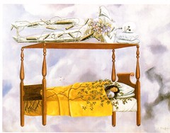 Postcrossing US-5298317 - A (booboo_babies) Tags: frida fridakahlo art skeleton bed dream 1940 postcrossing