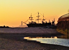 The Black Pearl Driftwood Ship by The Mersey River (bikerchick2009) Tags: liverpool wirral merseyside library cathedral anglican building light ship city sunset sun