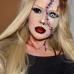 Barbie zombie By @nadina_ioana (ineedhalloweenideas) Tags: halloween doll barbie zombie makeup make up ideas for 2017 happy night before christmas october 31 autumn fall spooky body paint art creepy scary horror pumpkin boo artist goth gothic