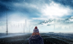 Winter is Here (chiaralily) Tags: chiaralily photoshop manipulation winter snow cold lonely person road travel city mountain journey storm alone solitary tutorial
